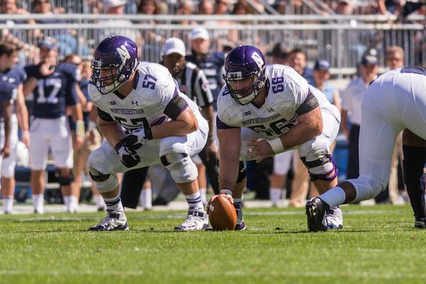 Former Northwestern center Brandon Vitabile (right) is now with the Indianapolis Colts, but the Wildcats return  three starters on the offensive line, including senior guard Matt Frazier.