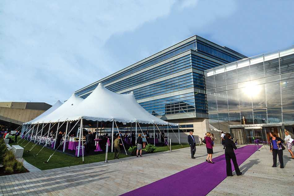 Hundreds attended the ribbon cutting ceremony in front of the Patrick G. and Shirley W. Ryan Center for the Musical Arts on Thursday. The building, shared by the Bienen School of Music and the School of Communication, was dedicated to the Ryan family in recognition of their support of the arts at Northwestern.