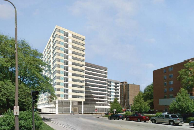 An initial rendering of the proposed housing development on Emerson Street. The high-rise, which would be targeted toward students as tenants, is still in preliminary planning stages.