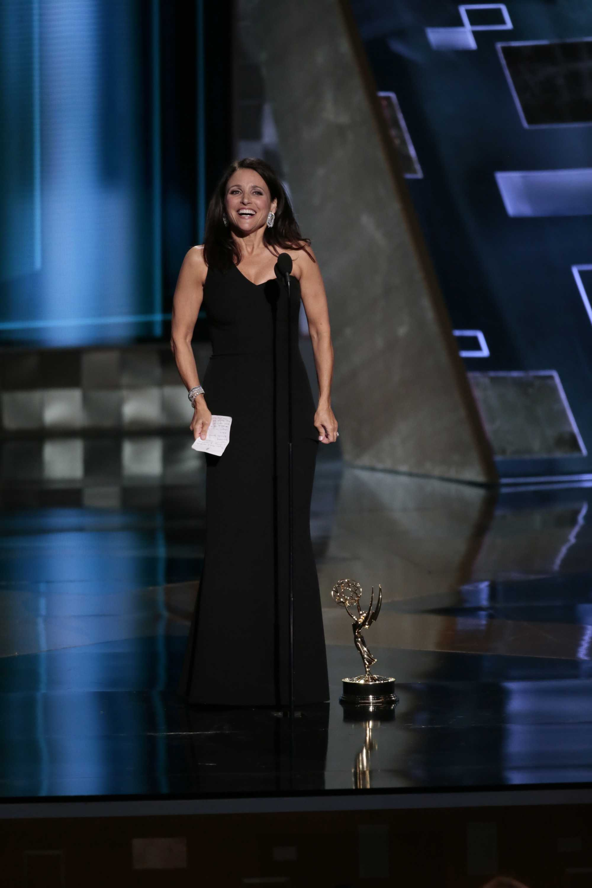 Julia Louis-Dreyfus steps on to the stage at the 67th Primetime Emmy Awards after winning Outstanding Lead Actress in a Comedy Series. Louis-Dreyfus (Communication '83) was among several other alums who received awards and/or nominations during the show Sunday night.