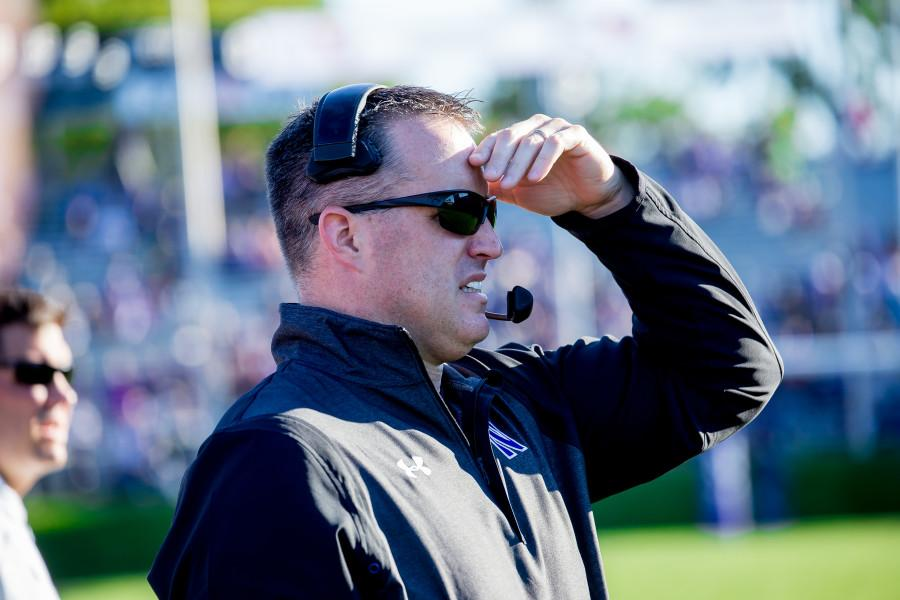 Northwestern+coach+Pat+Fitzgerald+surveys+the+field+during+Northwestern%27s+41-0+win+over+Eastern+Illinois+on+Saturday.+The+dominant+win+pushed+the+Wildcats+into+the+top+25+in+both+national+polls.