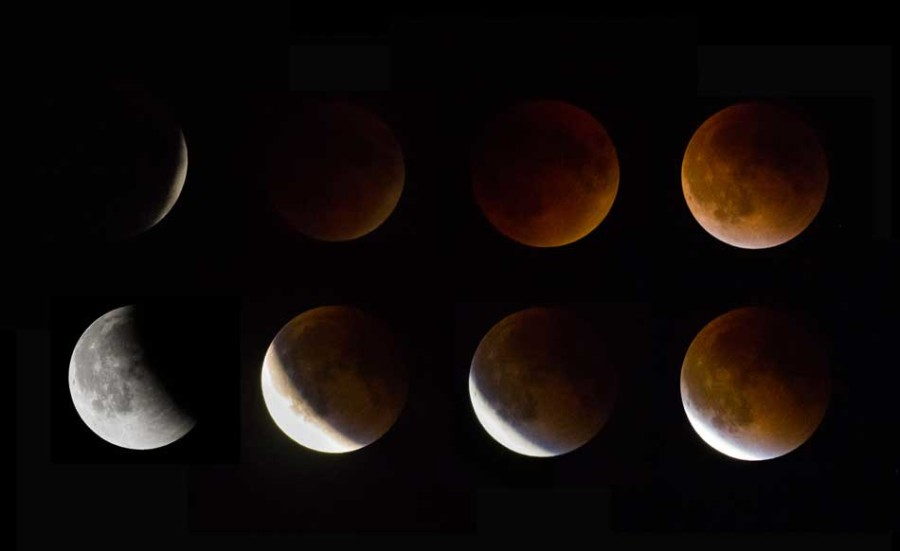 Different phases of the moon were overlayed in one image as the night progressed on Sunday. The rare transformation occurred during a special total lunar eclipse.