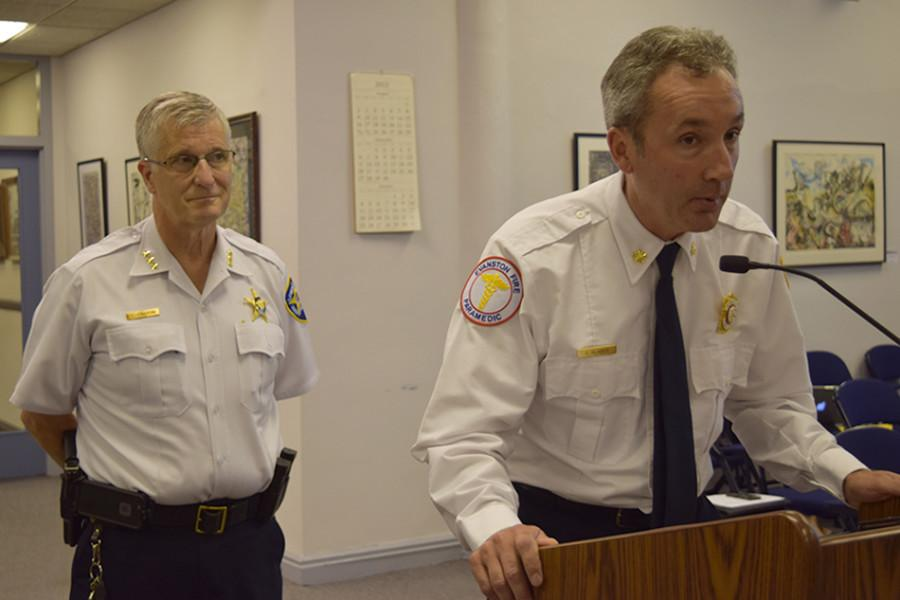 Evanston Police Chief Richard Eddington (left) and Fire Chief Greg Klaiber propose changes Monday to the city's emergency management. The chiefs suggested to aldermen the addition of a fire command officer to pair with the fire chief to oversee the city's response efforts.