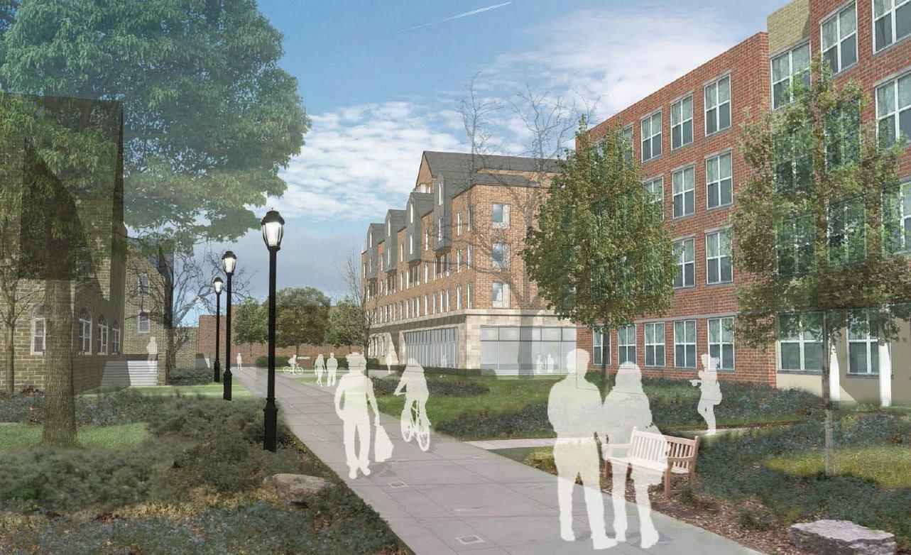 A rendering of the first new residence hall to be built, located on 560 Lincoln Street. The new project is part of a long-term housing master plan by Residential Services to improve on-campus housing.