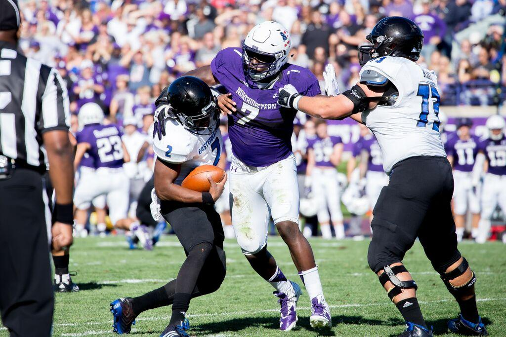 Defensive end Ifeadi Odenigbo and the Northwestern defense could have their hands full with Duke quarterback Thomas Sirk,a dual-threat quarterback in his first season as a starter.