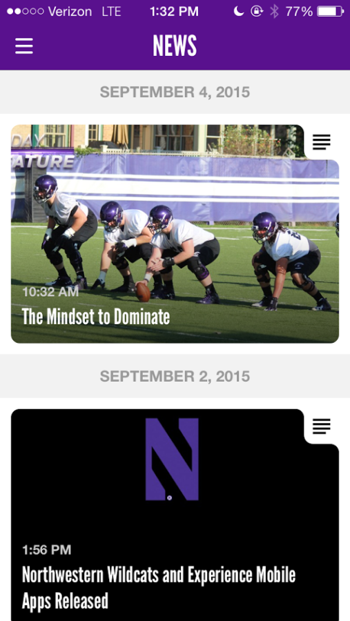 A+new+Northwestern+Wildcats+application+launched+Wednesday%2C+giving+fans+a+more+interactive+way+to+experience+games.++The+application+will+be+fully+functional+before+Saturday%27s+game+against+Stanford+University.+