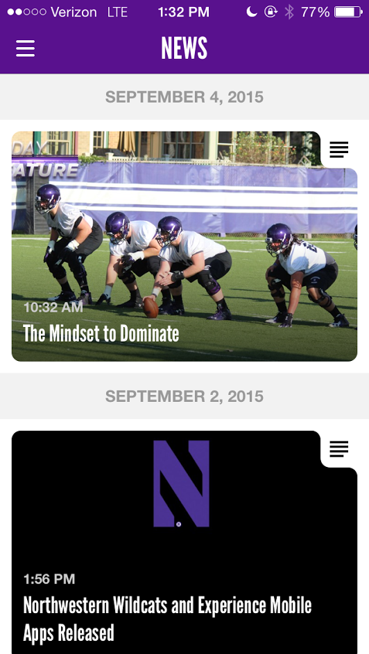 A new Northwestern Wildcats application launched Wednesday, giving fans a more interactive way to experience games.  The application will be fully functional before Saturday's game against Stanford University.