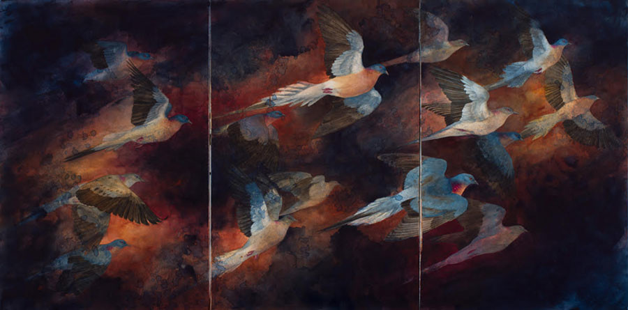 """Tenebrous Flight"" by Kristina Knowski is a part of ""Birds in Jeopardy,"" a new exhibit at the Noyes Cultural Arts Center. The exhibit opens on Nov. 1."