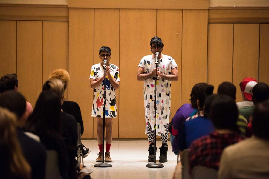 DarkMatter+speaks+out+against+transphobia+and+racism+during+the+duo%27s+spoken+word+performance+at+Parkes+Hall+on+Sunday+night.+The+South+Asian+art+group+brought+poetry+and+discussion+about+nonconforming+LGBT+people+to+Northwestern+as+the+student+group+Rainbow+Alliance%27s+fall+speakers.