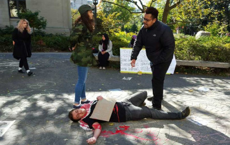 Students reenact violence in Israel during demonstration at The Rock