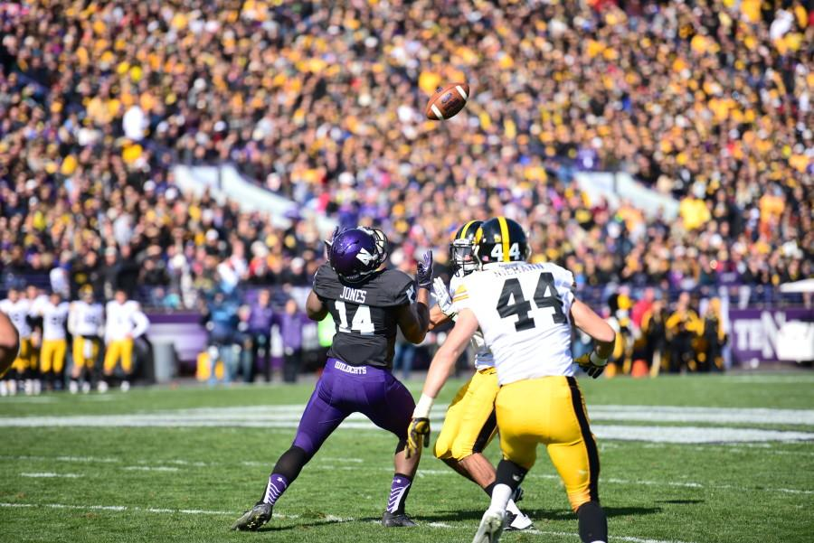 Christian Jones bobbles a pass. The senior and many other receivers exacerbated Northwestern's offensive struggles by dropping passes throughout the game.