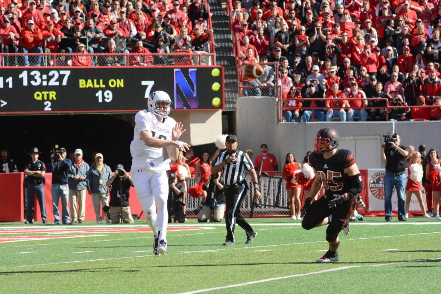 Redshirt freshman quarterback Clayton Thorson flips a short pass during Northwestern's 30-28 win over Nebraska. Thorson completed only 13/28 passes but threw a key touchdown pass to Dan Vitale in the fourth quarter.