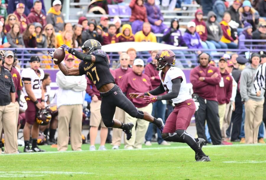 Matthew Harris drops a potential interception. The junior cornerback had one pick and three pass deflections in Northwestern's shutout of Minnesota.