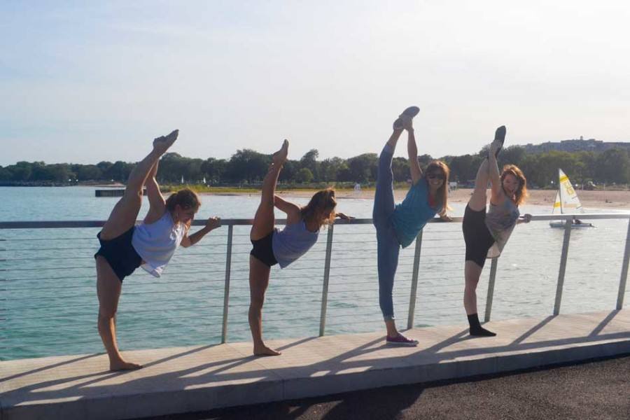 Dancers from Flux Dance Project Alana Rosenbloom, Katie Ippolito, Lauryn Schmelzer and Anna Celeste Harrer dance and take pictures on the Lakefill. Flux holds weekly open classes for dancers of all levels.