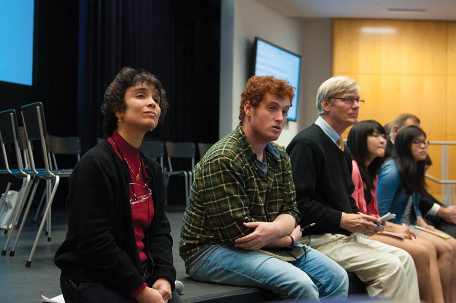 Neurobiology Prof. Indira Raman listens to a student's comment during a forum on undergraduates' academic experience Thursday. Raman chairs the task force that will propose reforms to Provost Daniel Linzer in mid-December.