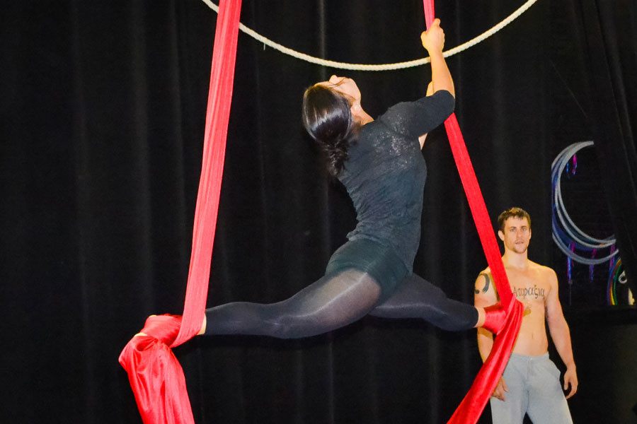 A student in The Professional Circus Training program practices silks during open gym time. The Actors Gymnasium launched the program this year to give performers a background in circus and theater.