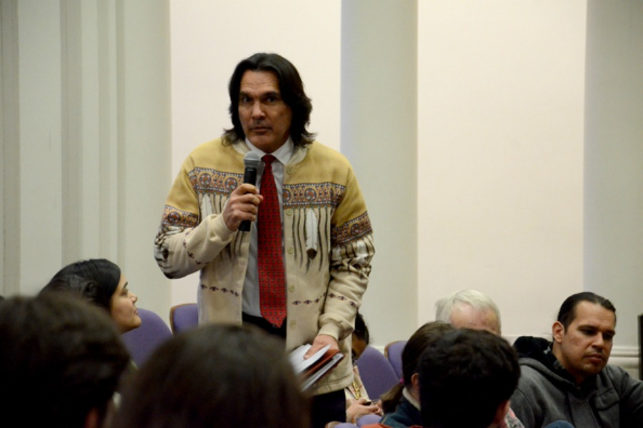 Andrew Johnson, executive director of the American Indian Center of Chicago, speaks at the Native and Indigenous Northwestern Community Forum in March 2014. The University announced that an Indigenous Studies Research Initiative will replace the Native American Outreach and Inclusion Task Force's 2014 proposal for an Indigenous Research Center.