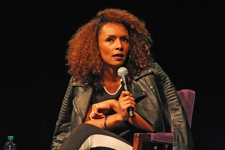 Janet Mock addresses an auditorium of NU students Tuesday night. As the speaker for a Multicultural Student Affairs event, the transgender journalist and activist spoke about her experiences with LGBT visibility.