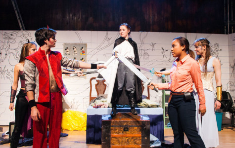 """Cast members rehearse for """"She Kills Monsters."""" The show, produced by Purple Crayon Players opens on Oct. 29 in McCormick Auditorium."""