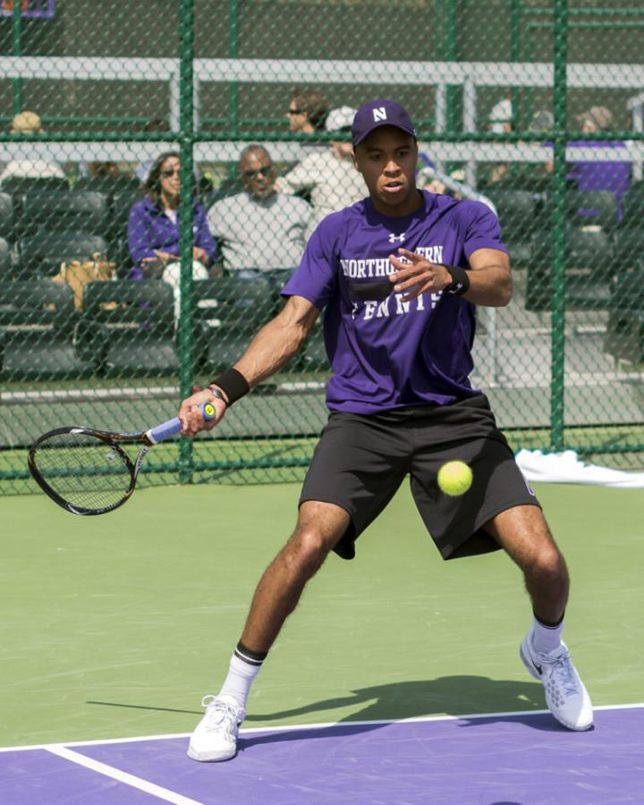 Junior Sam Shropshire readies his return. Shropshire was the runner-up in the consolation bracket at the All-American Championships, but it was junior teammate Konrad Zieba who stole the show for NU with an improbable run to the quarterfinals.