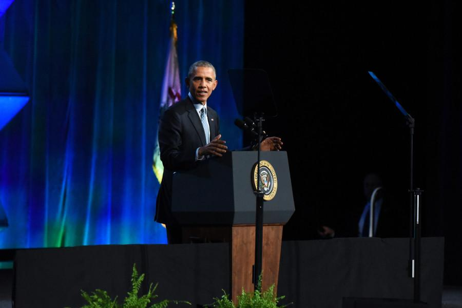 President Barack Obama addresses the International Association of Chiefs of Police in Chicago on Tuesday. Obama defended police officers and their work amid the national debate surrounding officers' use of force.