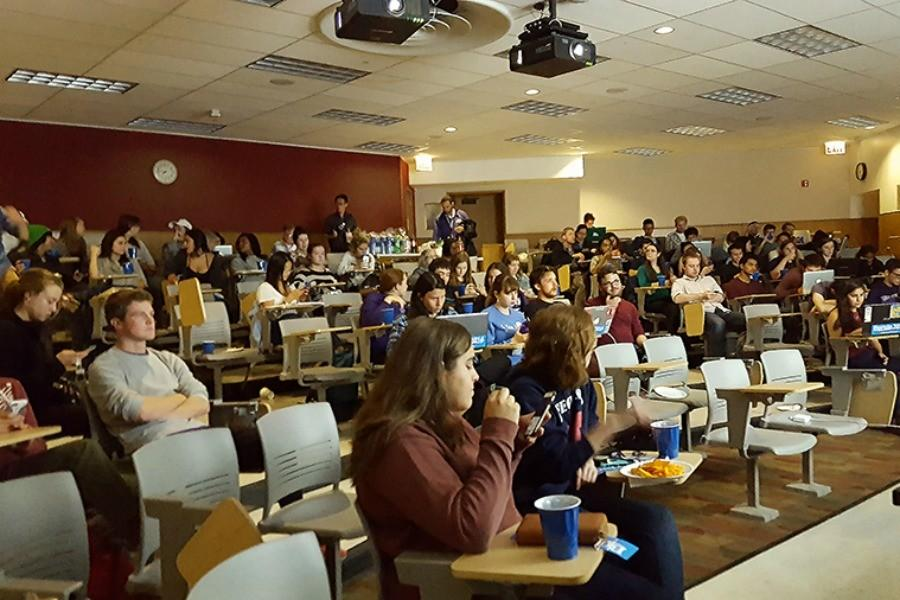 Northwestern students follow the first Democratic primary debate during a viewing party at Technological Institute hosted by Wild for Bernie, the NU support group for candidate Bernie Sanders. The viewing party was one of many election-related events to come from student groups and support various candidates for the 2016 election.