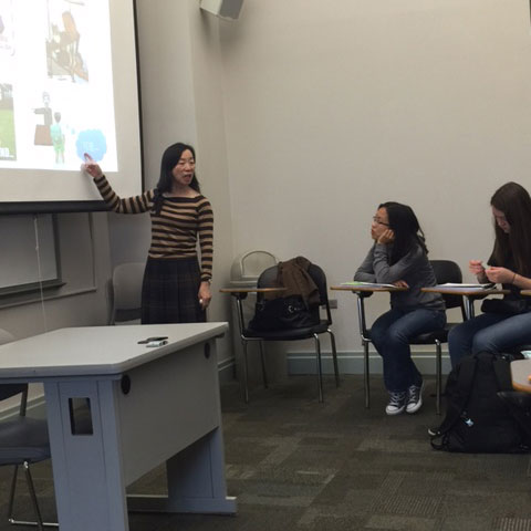 "Prof. Hsiu-Ling Robertson teaches a Chinese language class. Robertson directed the documentary ""Jiu-Fen-Er Mountain: The Lives of Taiwanese Foreign Brides."""