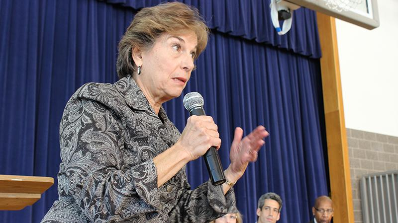 Rep. Jan Schakowsky, D-Evanston, speaks at an Evanston panel in 2013. The U.S. representative returned on Friday to vouch for climate justice at a Northwestern student rally.