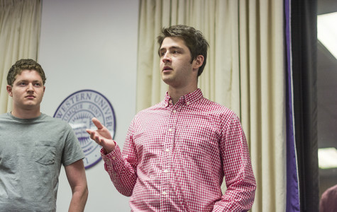 Weinberg senior Matt Clarkston answers a question during ASG Senate's Wednesday meeting. Clarkston was elected speaker of the Senate, succeeding Noah Whinston for the body's top spot.