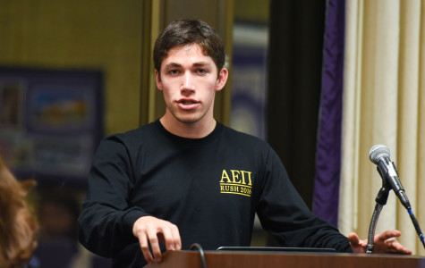 Weinberg senior Jonathan Kamel speaks in favor of a resolution that asks administrators to allow students with medical marijuana cards to consume smokeless forms of the drug in University housing. The resolution passed Senate nearly unanimously.