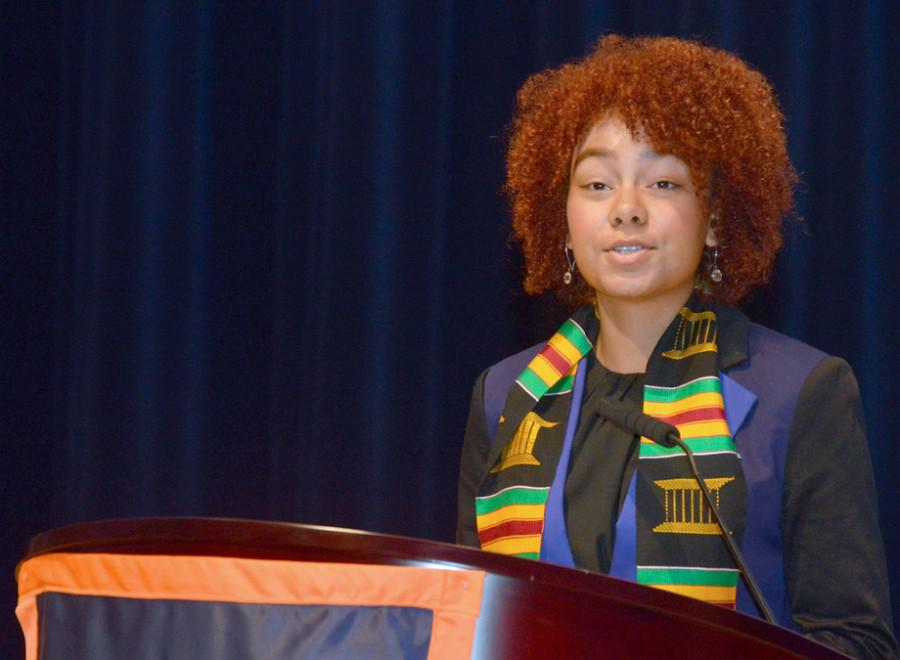 ETHS senior Camille Allen introduces a keynote speaker for the school's Black Female Summit held last week. This is the first year the school hosted the Black Female Summit, having debuted the Black Male Summit last year.