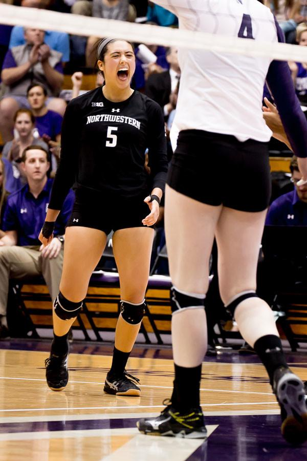 Senior+libero+Carks+Niedospial+celebrates.+Niedospial%2C+who+leads+the+Big+Ten+in+digs+per+set%2C+will+be+looking+to+lead+NU+to+much+needed+wins+against+Michigan+and+Michigan+State+this+weekend.