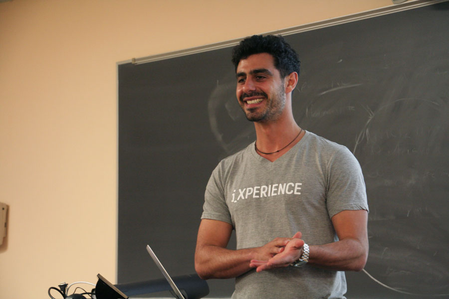 IXperience CEO Aaron Fuchs speaks to a group of students Tuesday at Parkes Hall. During the event, Fuchs shared life and career advice he learned through founding his startup.