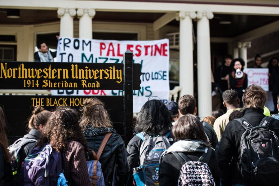 Students+gather+outside+the+Black+House+on+Friday+to+protest+institutional+racism+at+Northwestern+and+other+universities.+The+protesters+later+moved+to+Henry+Crown+Sports+Pavilion%2C+where+they+spoke+out+at+a+groundbreaking+ceremony+for+a+new+athletic+facility.