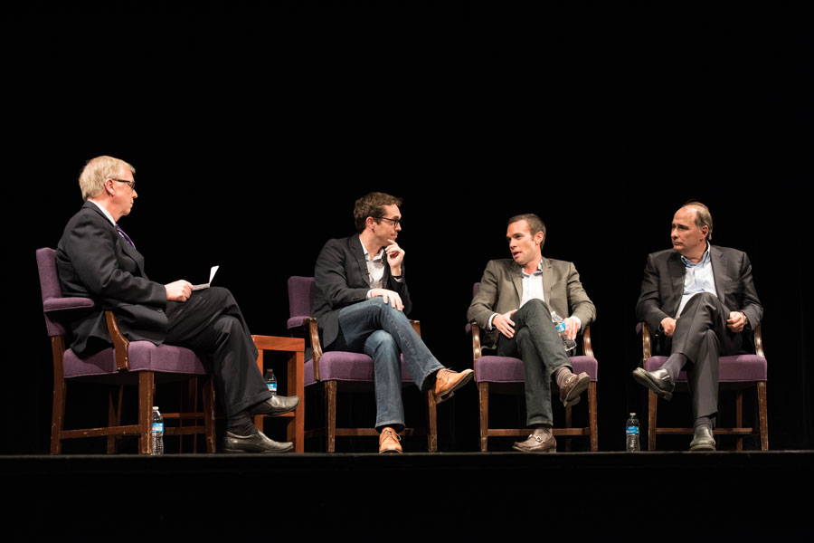 Medill Prof. Larry Stuelpnagel moderates a panel in Cahn Auditorium with three of President Barack Obama's former top aides: David Axelrod, Jon Favreau and Jeremy Bird. Much of the talk focused on the 2016 presidential election with the panelists discussing the shortcomings of the Republican Party.