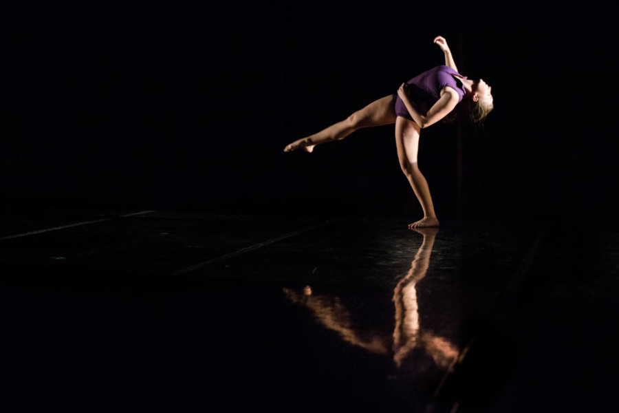 Communication+senior+Annalissa+Hartsell+rehearses+for+%E2%80%9CUnder+Construction%2C%E2%80%9D+the+fall+dance+concert.+Presented+by+the+New+Movement+Project%2C+the+show+opens+Thursday+at++the+Wirtz+Center+Ballroom.