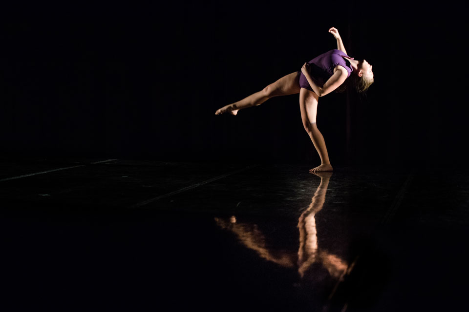 "Communication senior Annalissa Hartsell rehearses for ""Under Construction,"" the fall dance concert. Presented by the New Movement Project, the show opens Thursday at  the Wirtz Center Ballroom."