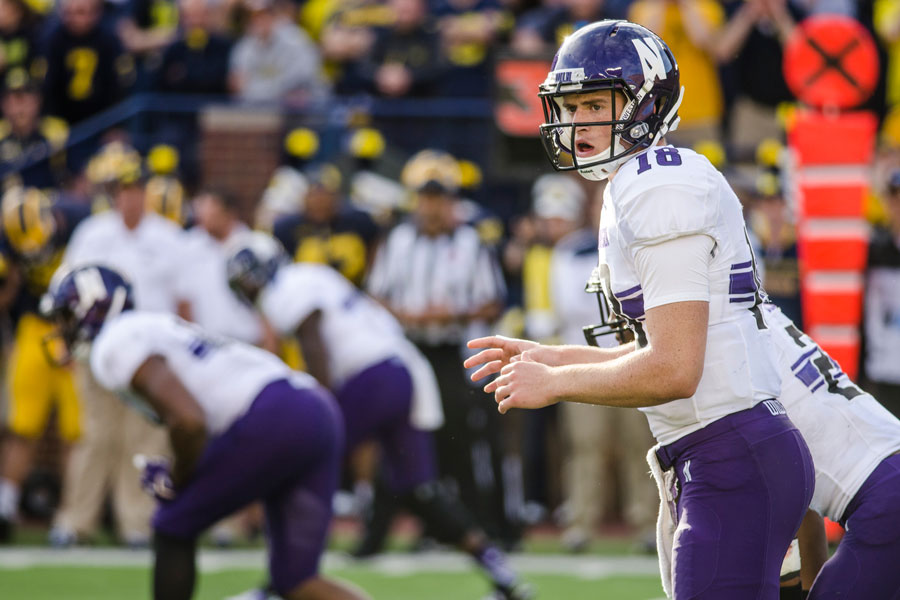 Clayton Thorson looks back at the sideline as the offense waits to snap the ball. The redshirt freshman quarterback will have to deal with a loud crowd on the road in Wisconsin, similar to the ones at Michigan and Nebraska.