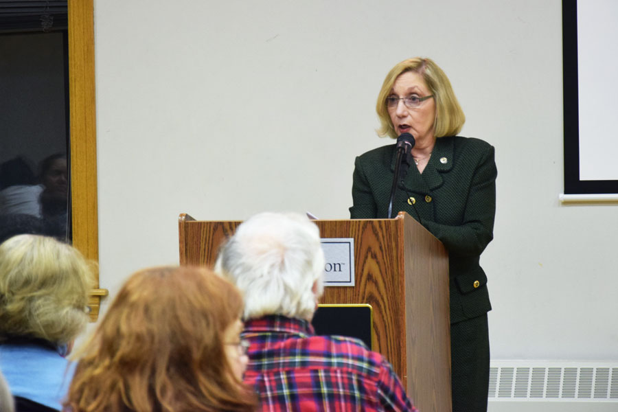State Rep. Robyn Gabel (D-Evanston) speaks at a town hall meeting Monday evening on the Illinois budget impasse in Evanston. The state has been without a budget for more than four months.