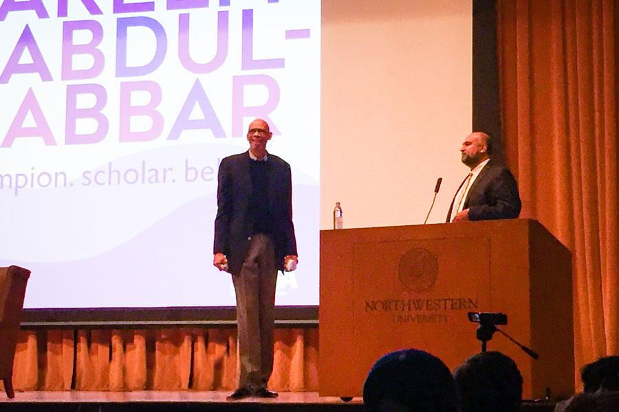 Kareem Abdul-Jabbar (left) spoke to a crowd of about 300 people Friday at an event partially moderated by Omer Mozaffar (right). The six-time NBA MVP discussed subjects ranging from his Muslim identity to socially conscious athletes.