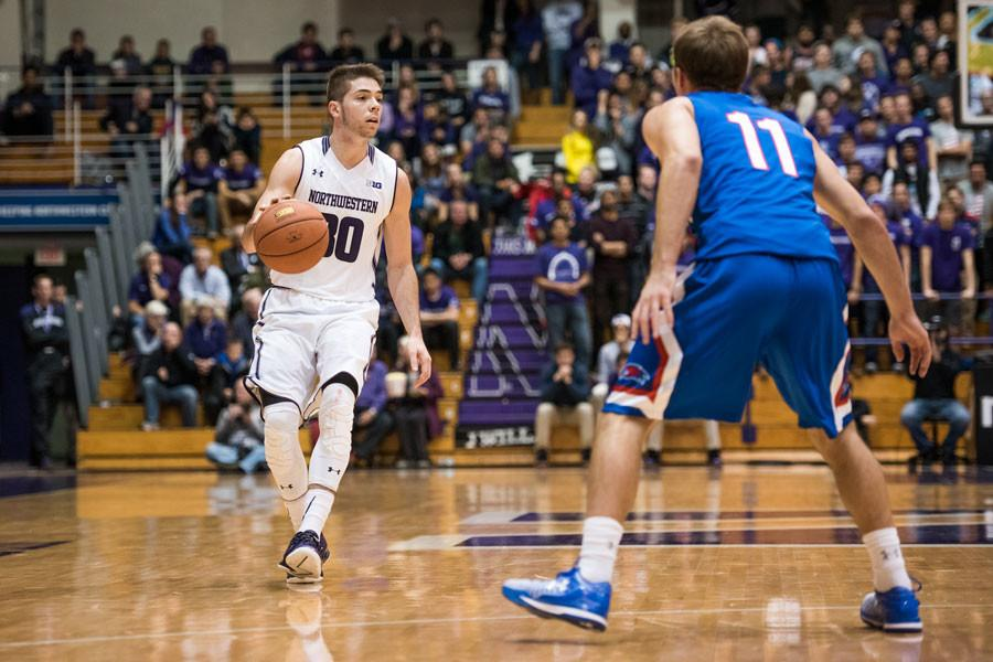 Bryant McIntosh brings the ball up court. The sophomore guard fouled-out of a game for the first time in his career Tuesday, picking up his fifth with 4:26 remaining in the contest.