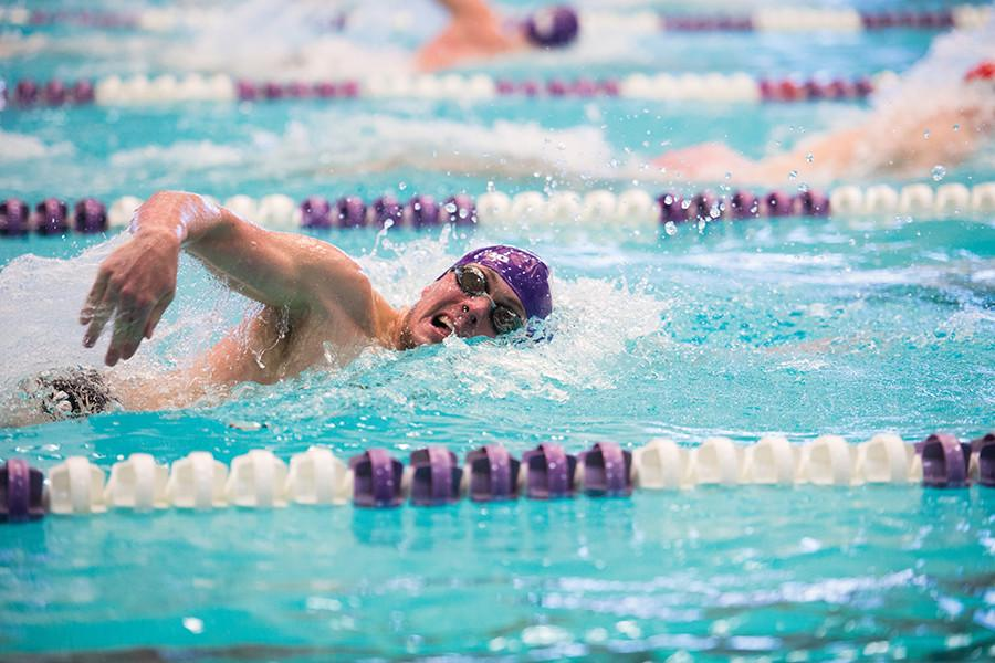 Stephen Shull competes in a freestyle event. The junior did not have his best day in the pool, finishing last in the two individual events he competed in.