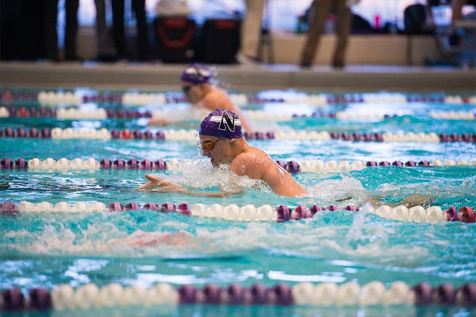 Thanas Kountroubis competes. The freshman finished in eighth with a time of 53.87 seconds in the 100-yard IM in the championship final on the third day of the TYR Invitational.