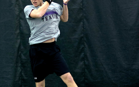 Junior Strong Kirchheimer hits a return. Kirchheimer, who made the semifinals of the Big Ten Singles Championships his freshman year, will step aside as Northwestern's three freshmen compete in the 2015 edition of the tournament this weekend.