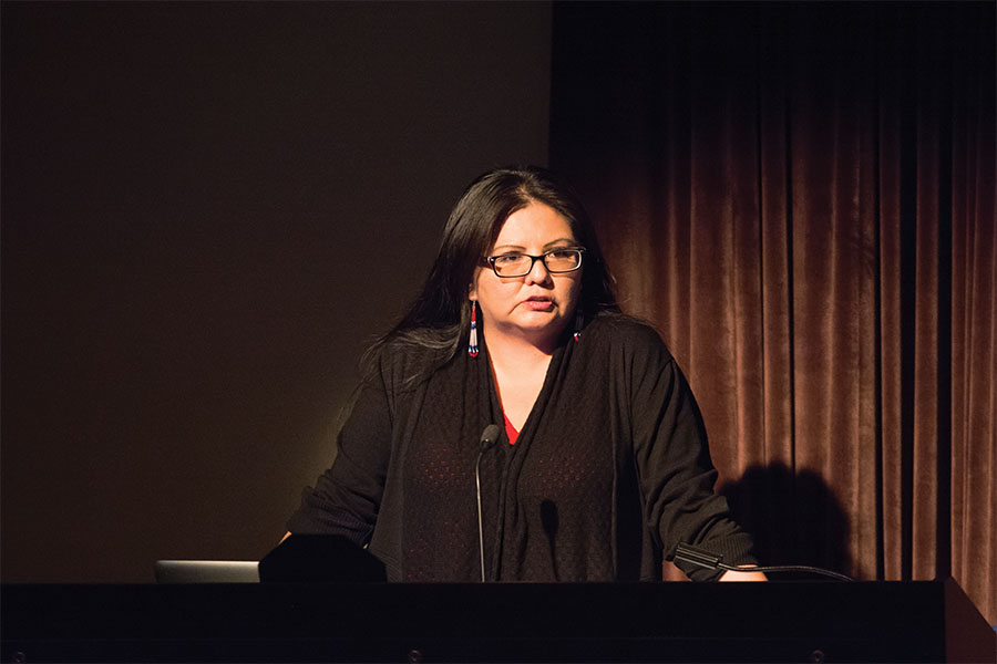 Navajo artist and filmmaker Pamela Peters discusses her recent multimedia project on Native American youth in Los Angeles at Helmerich Auditorium on Thursday. Peters also spoke about the challenges facing