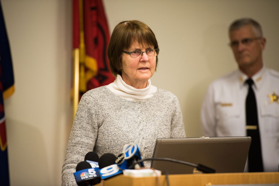 Mayor Elizabeth Tisdahl and Police Chief Richard Eddington spoke at a news conference Monday about the city's plans to address 11 properties with a history of police activity. Six of the 11 properties are located within a block of Evanston Township High School.