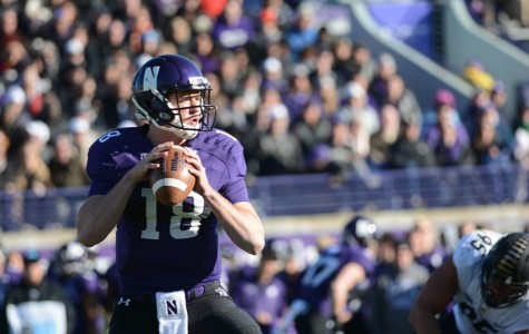 Redshirt freshman quarterback Clayton Thorson drops back to pass. Thorson was benched briefly in the second half Saturday after a rough day throwing the ball.