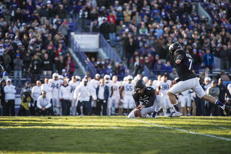 Junior kicker Jack Mitchell attempts a game-winning 35-yard field goal. The kick was good, giving Northwestern a 23-21 win.