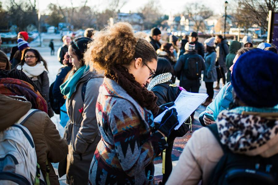 Students+gather+before+marching+to+Sodexo+administrative+offices+in+solidarity+with+food+service+workers+at+NU.+The+group+presented+a+petition+calling+for+measures+such+as+better+treatment+of+workers+and+a+guaranteed+40-hour+work+week+as+workers+begin+to+renegotiate+their+contract+with+Sodexo.