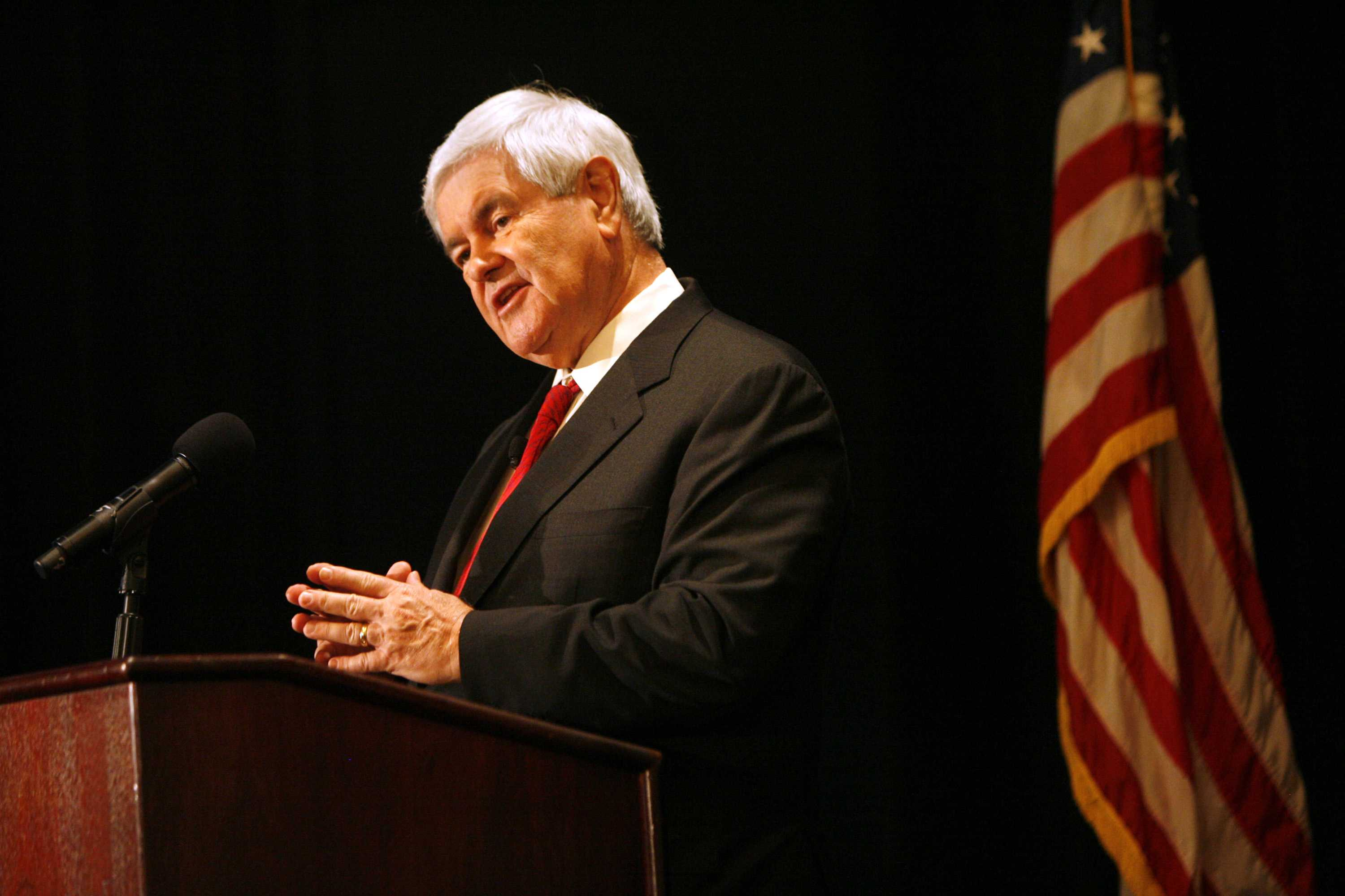 Newt Gingrich speaks during a policy seminar dubbed
